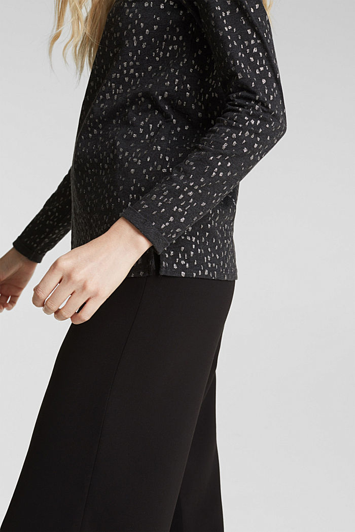 Long sleeve top with a glitter print, BLACK, detail image number 2