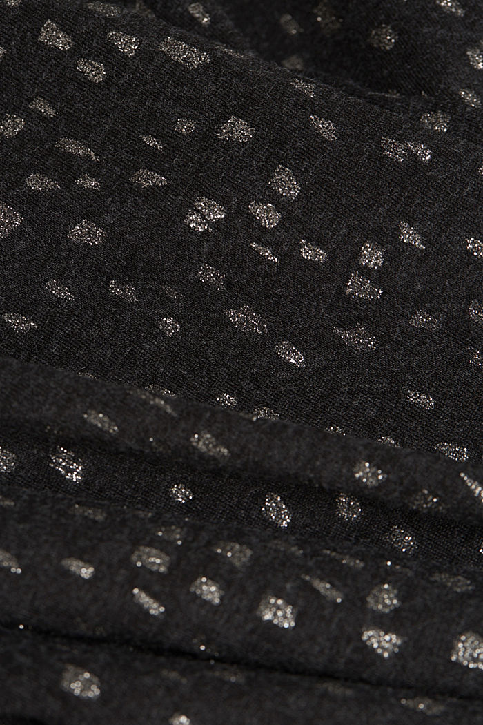 Long sleeve top with a glitter print, BLACK, detail image number 4