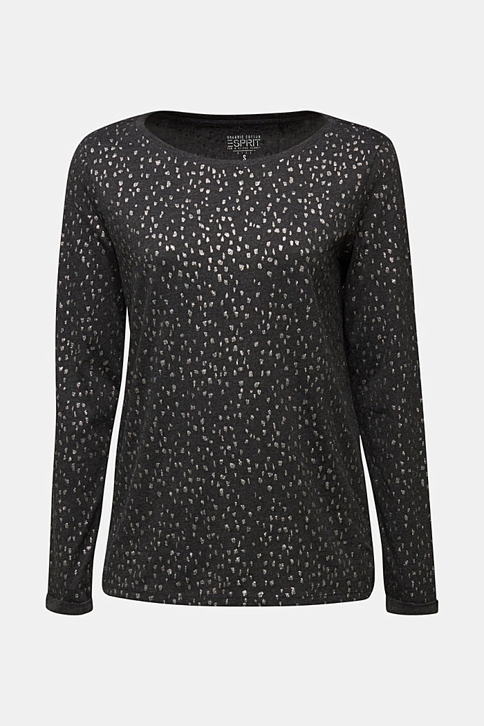 Long sleeve top with a glitter print, BLACK, detail image number 6