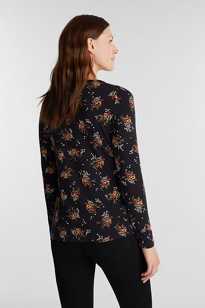 Mille-fleurs long sleeve top with organic cotton, BLACK, detail image number 3