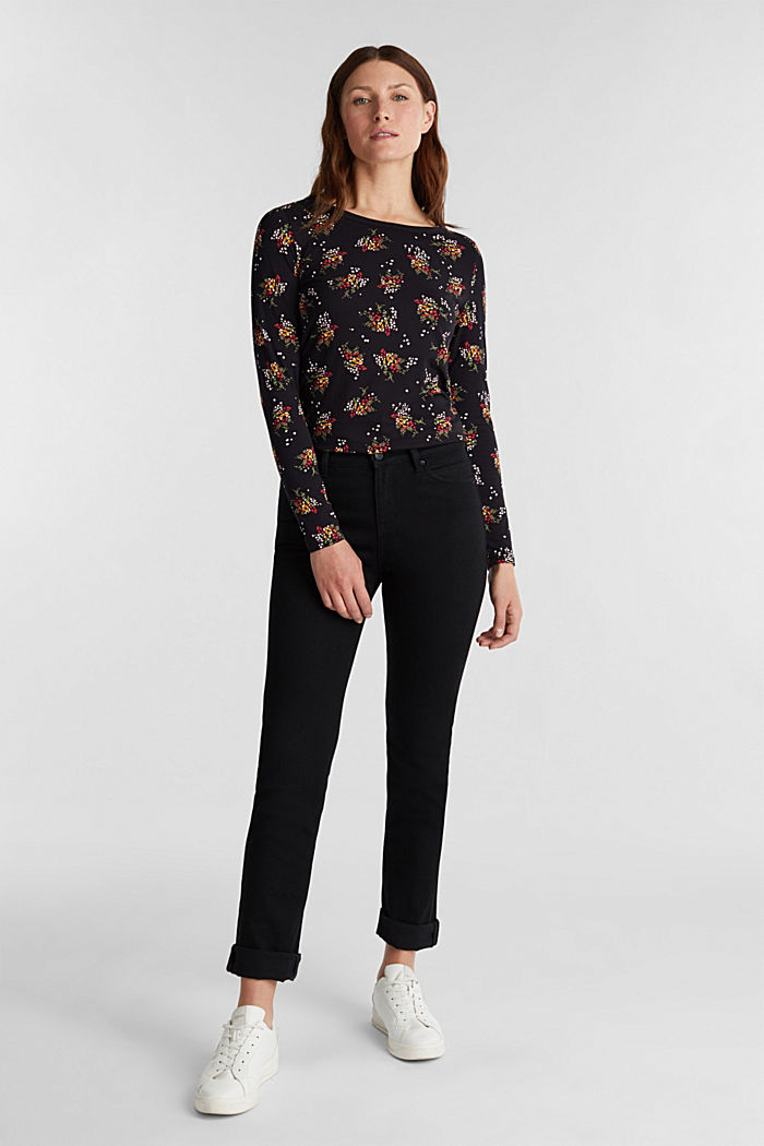 Mille-fleurs long sleeve top with organic cotton, BLACK, detail image number 1