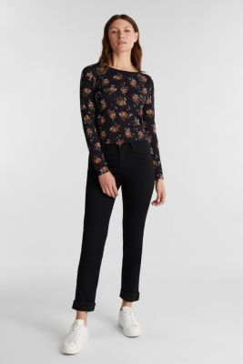 Mille-fleurs long sleeve top with organic cotton, BLACK, detail