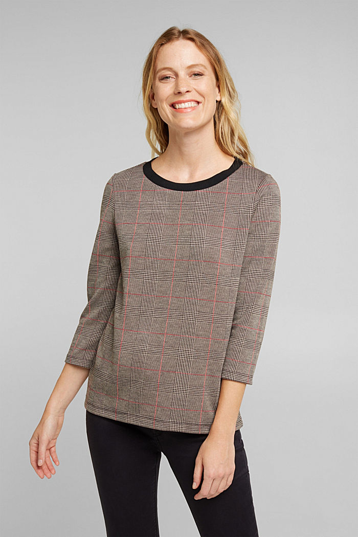 Jacquard top with checks, RED, detail image number 0