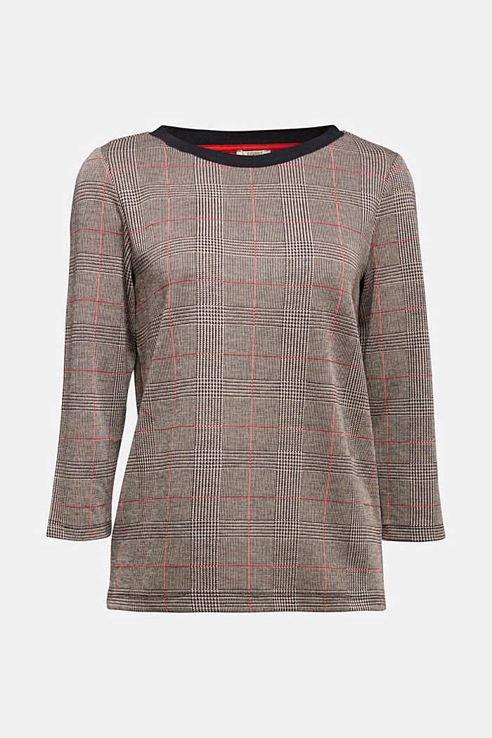 Jacquard top with checks, RED, detail image number 6