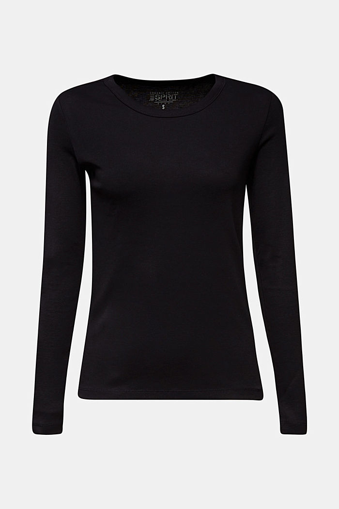 Long sleeve top made of 100% organic cotton, BLACK, detail image number 5