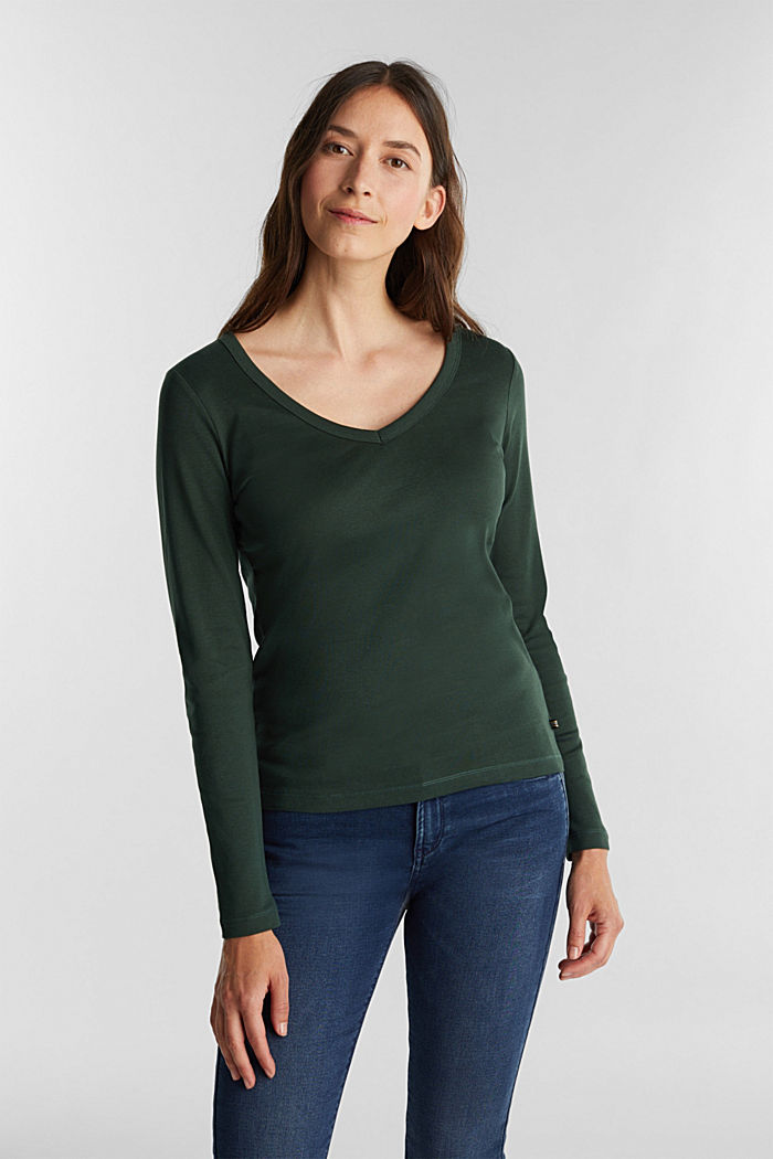 V-neck long sleeve top made of 100% organic cotton, DARK GREEN, detail image number 0