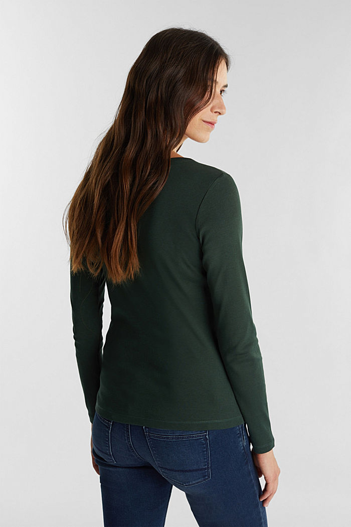 V-neck long sleeve top made of 100% organic cotton, DARK GREEN, detail image number 3