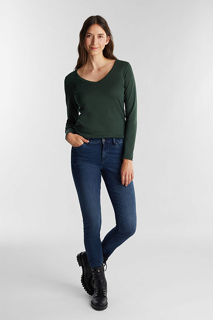 V-neck long sleeve top made of 100% organic cotton, DARK GREEN, detail image number 1