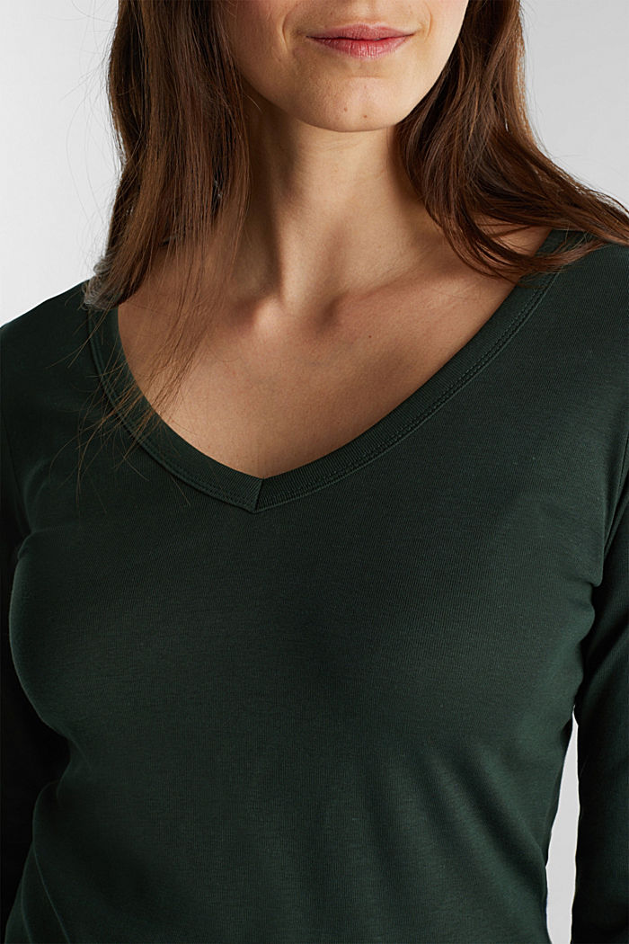 V-neck long sleeve top made of 100% organic cotton, DARK GREEN, detail image number 2