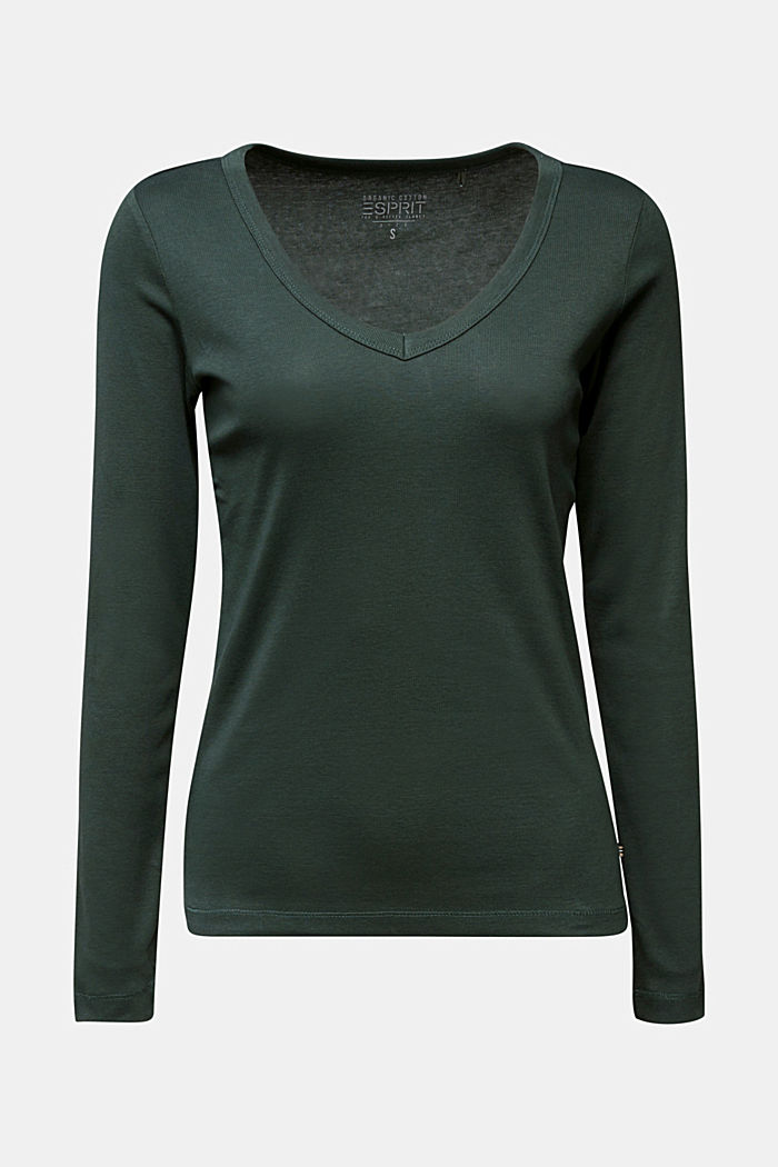 V-neck long sleeve top made of 100% organic cotton, DARK GREEN, detail image number 7