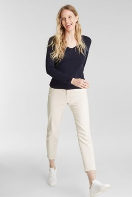V-neck long sleeve top made of 100% organic cotton, NAVY, detail