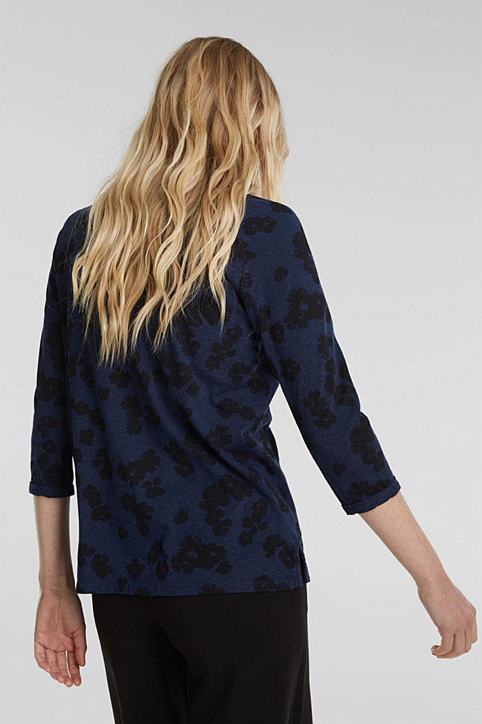 Top with a floral print and sequins, NAVY, detail image number 3