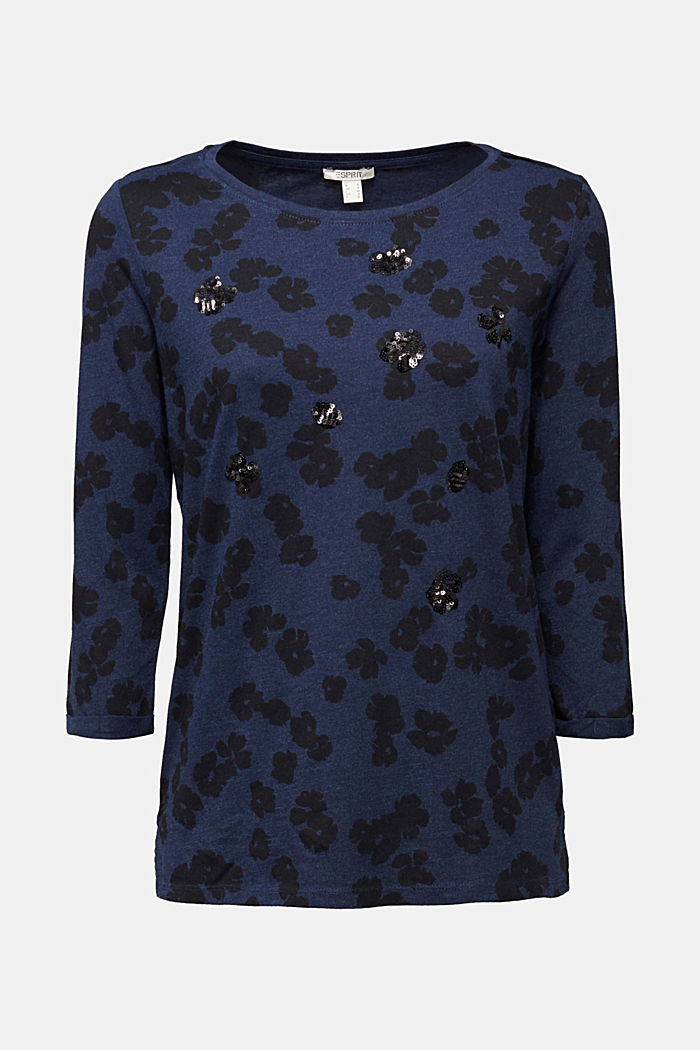 Top with a floral print and sequins, NAVY, detail image number 5