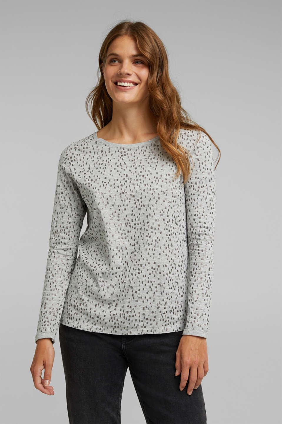 Esprit - Glitter print long sleeve cotton top, organic cotton