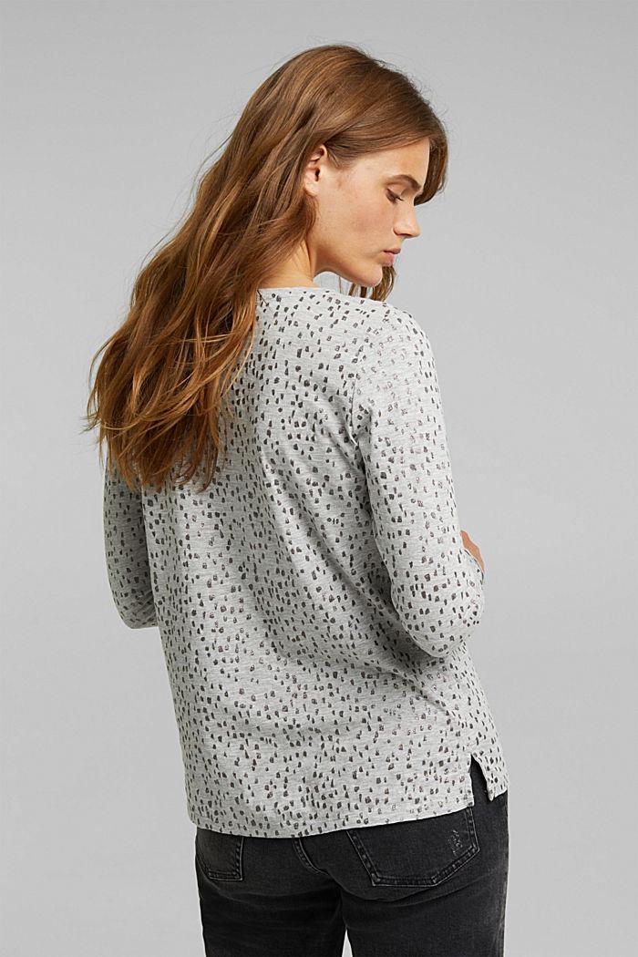 Glitter print long sleeve cotton top, organic cotton, LIGHT GREY, detail image number 3