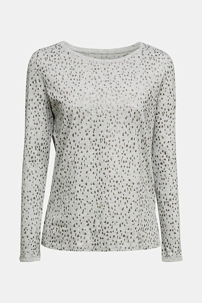 Glitter print long sleeve cotton top, organic cotton, LIGHT GREY, detail image number 6
