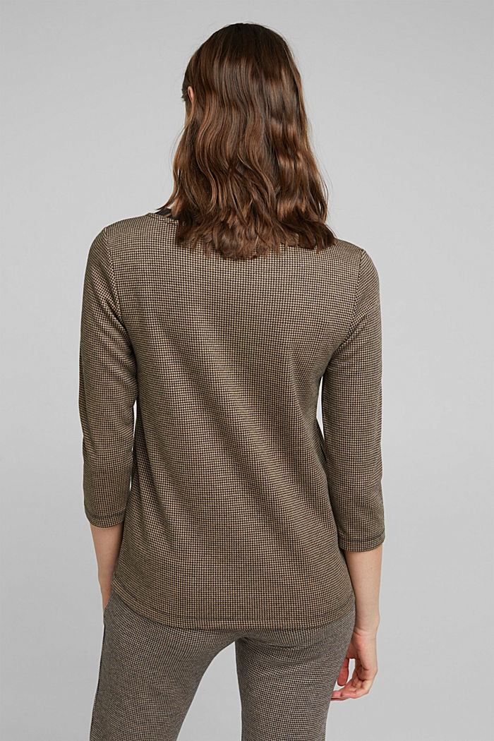 Jacquard top with a houndstooth pattern, CAMEL, detail image number 3
