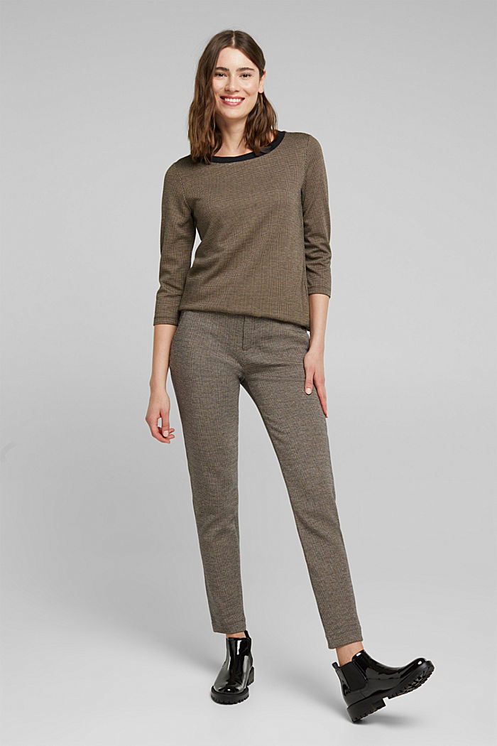 Jacquard top with a houndstooth pattern, CAMEL, detail image number 1