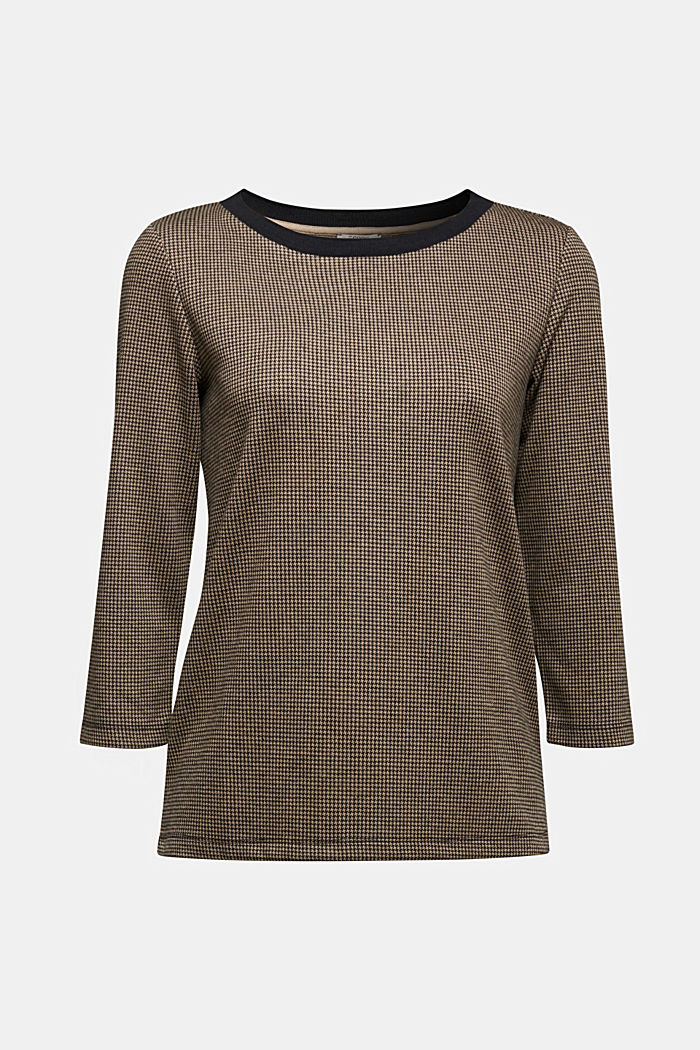 Jacquard top with a houndstooth pattern, CAMEL, detail image number 5