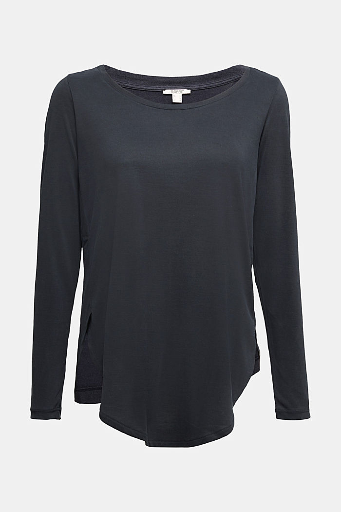 Long sleeve top with a shiny, matte finish, DARK GREY, detail image number 5