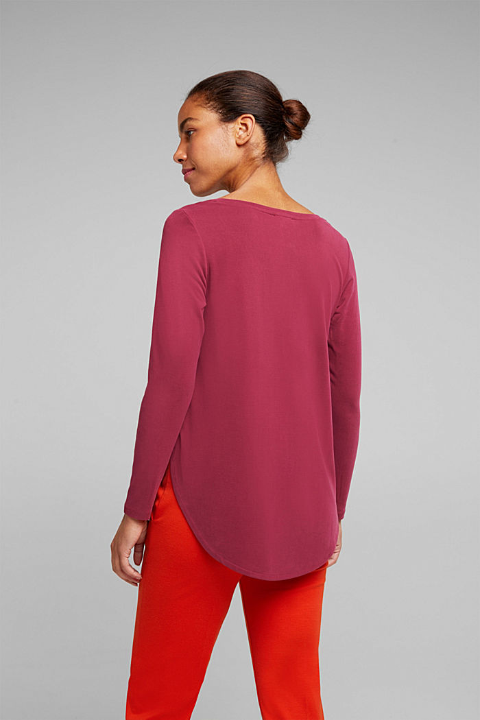 Long sleeve top with a shiny, matte finish, BORDEAUX RED, detail image number 3