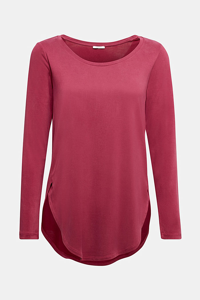 Long sleeve top with a shiny, matte finish, BORDEAUX RED, detail image number 6