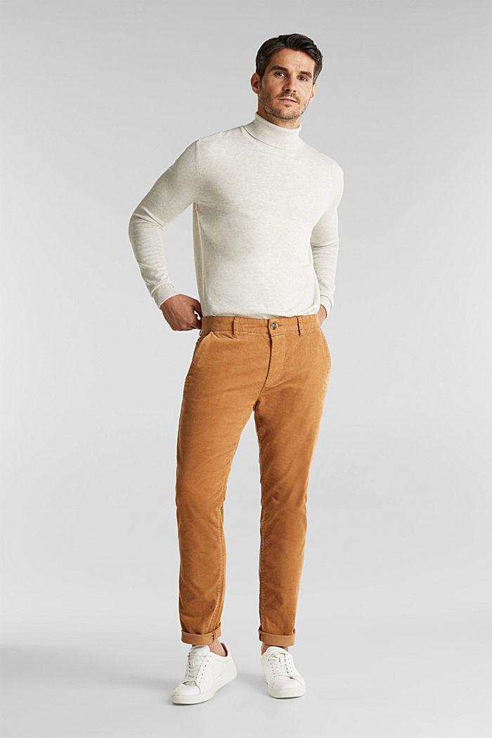 Corduroy trousers with organic cotton, CAMEL, detail image number 0
