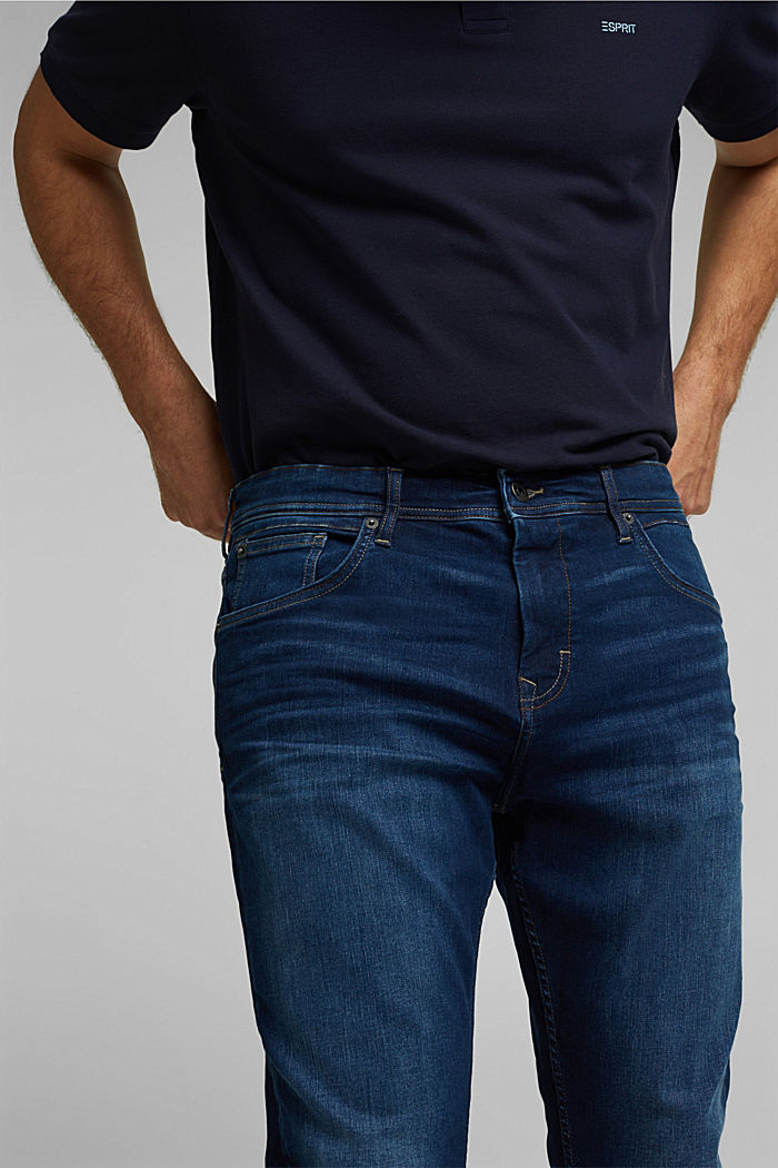 Recycelt: Jeans mit Organic Cotton, BLUE DARK WASHED, detail image number 3