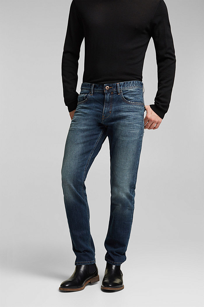 Stretch jeans with a washed-out look, BLUE DARK WASHED, detail image number 0
