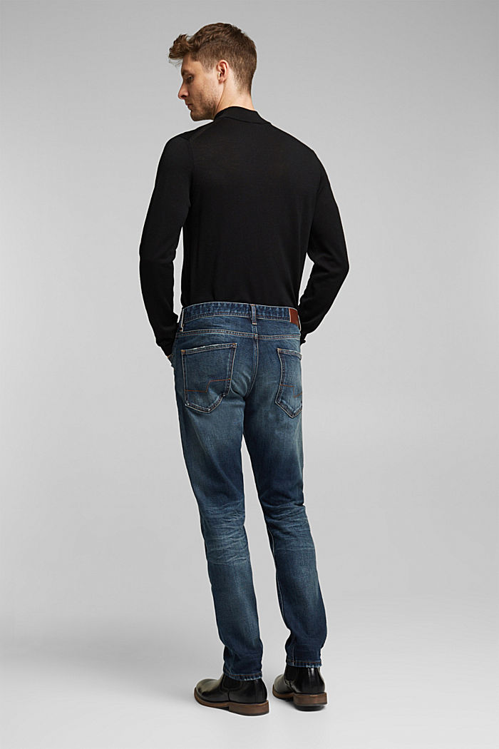 Stretch jeans with a washed-out look, BLUE DARK WASHED, detail image number 1