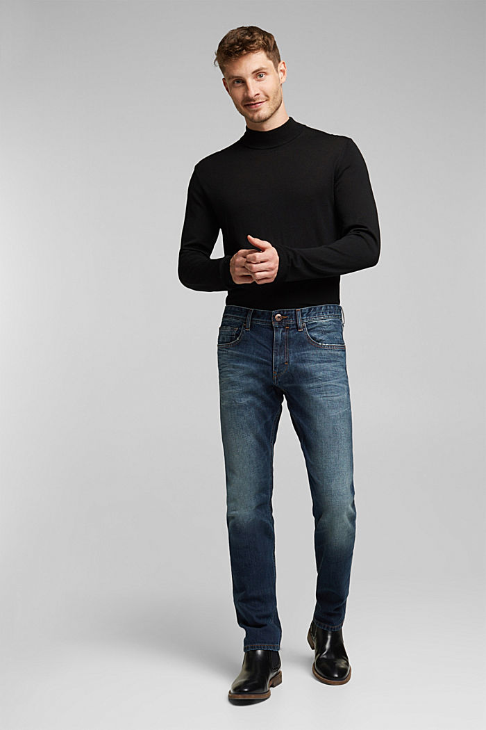 Stretch jeans with a washed-out look, BLUE DARK WASHED, detail image number 2