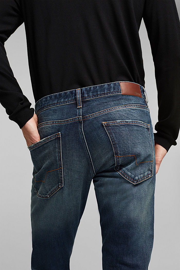 Stretch jeans with a washed-out look, BLUE DARK WASHED, detail image number 3