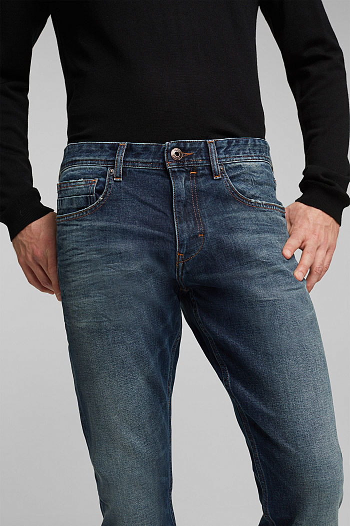 Stretch jeans with a washed-out look, BLUE DARK WASHED, detail image number 5