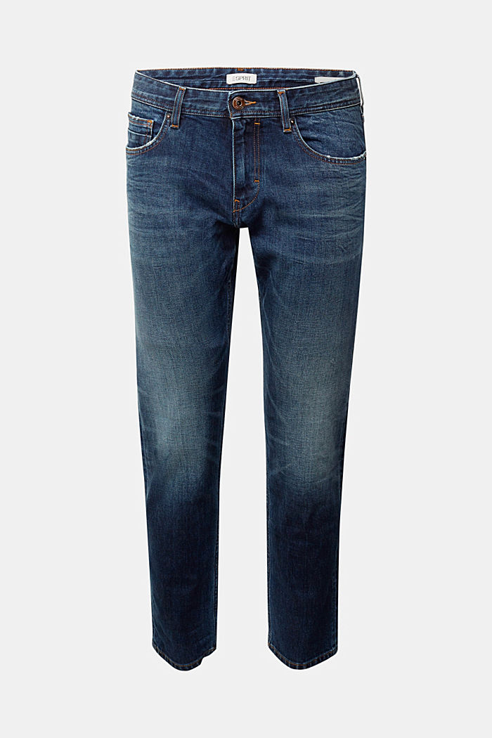 Stretch jeans with a washed-out look, BLUE DARK WASHED, detail image number 6