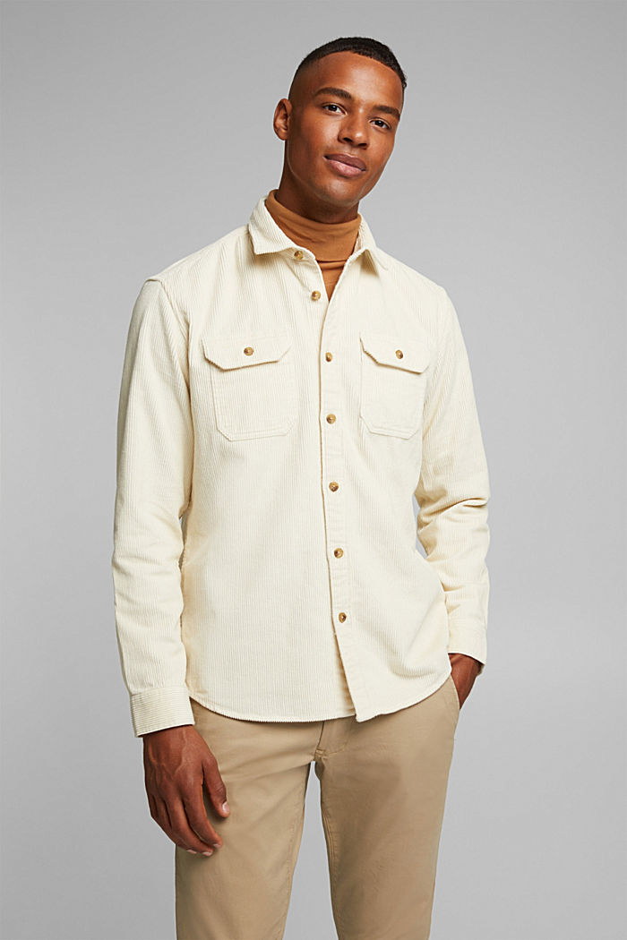 Corduroy shirt made of 100% organic cotton, CREAM BEIGE, detail image number 0