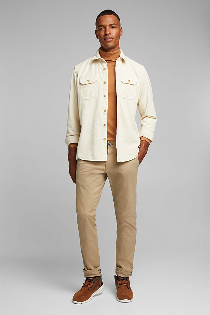 Corduroy shirt made of 100% organic cotton, CREAM BEIGE, detail image number 1