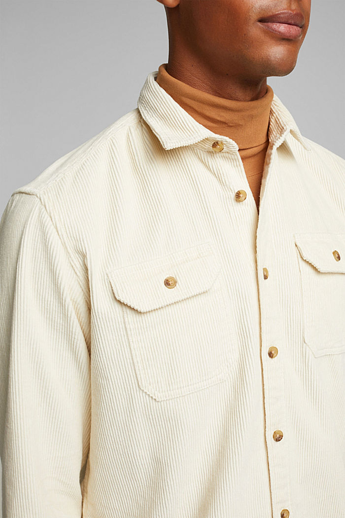 Corduroy shirt made of 100% organic cotton, CREAM BEIGE, detail image number 2