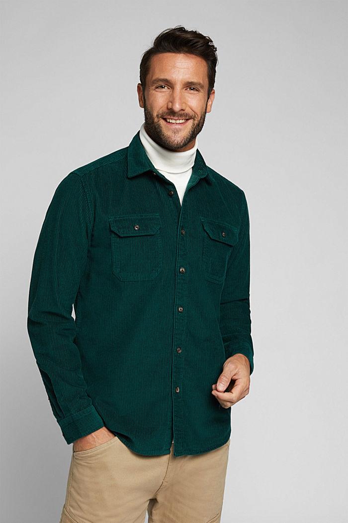 Corduroy shirt made of 100% organic cotton, BOTTLE GREEN, detail image number 0