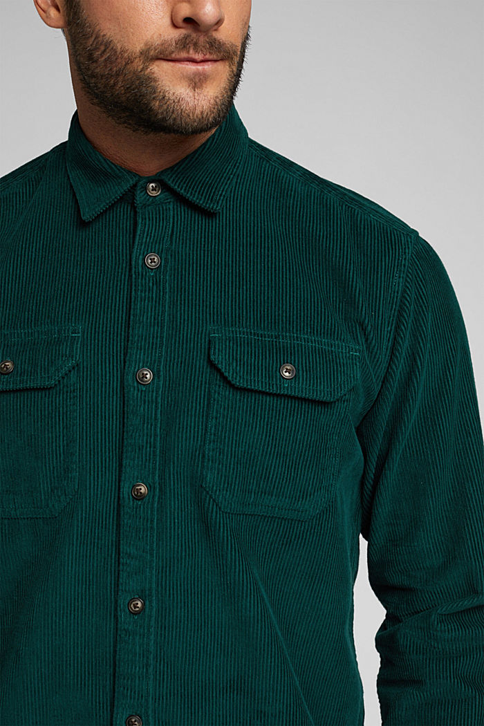 Corduroy shirt made of 100% organic cotton, BOTTLE GREEN, detail image number 2