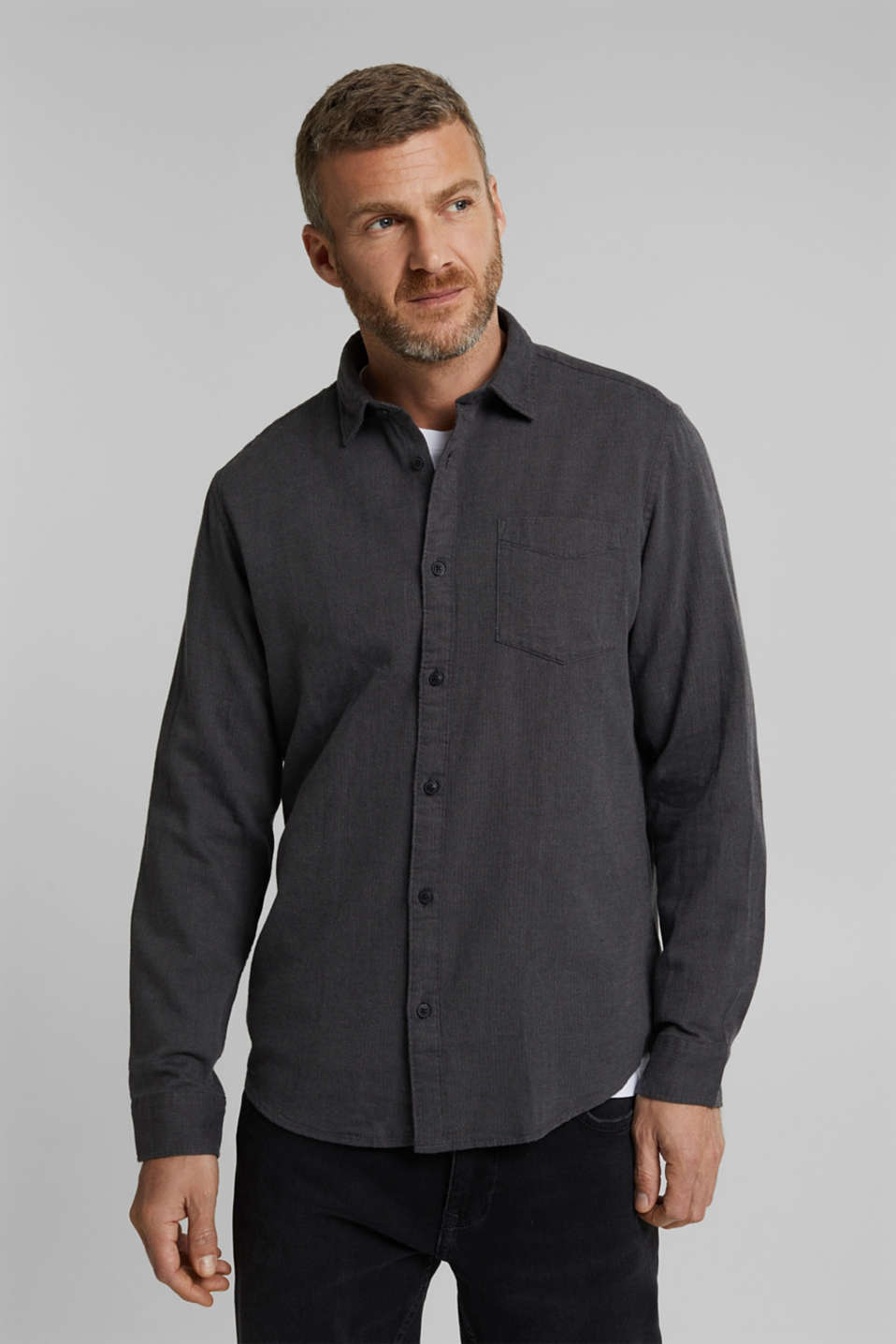 Esprit - Brushed herringbone pattern shirt, 100% organic cotton