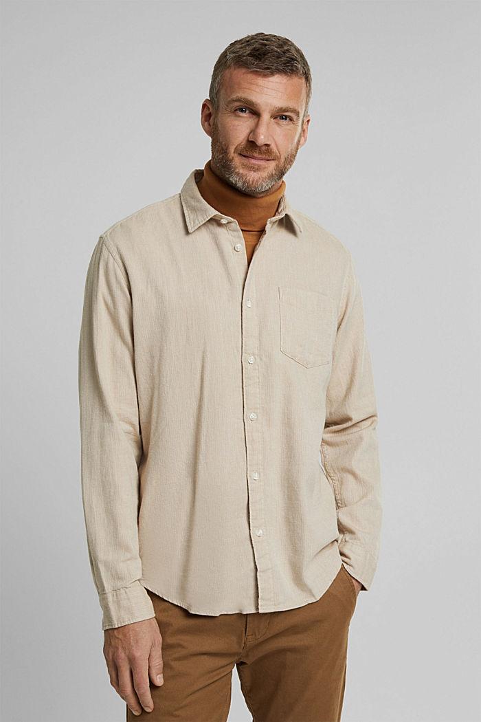 Brushed herringbone pattern shirt, 100% organic cotton, BEIGE, detail image number 0