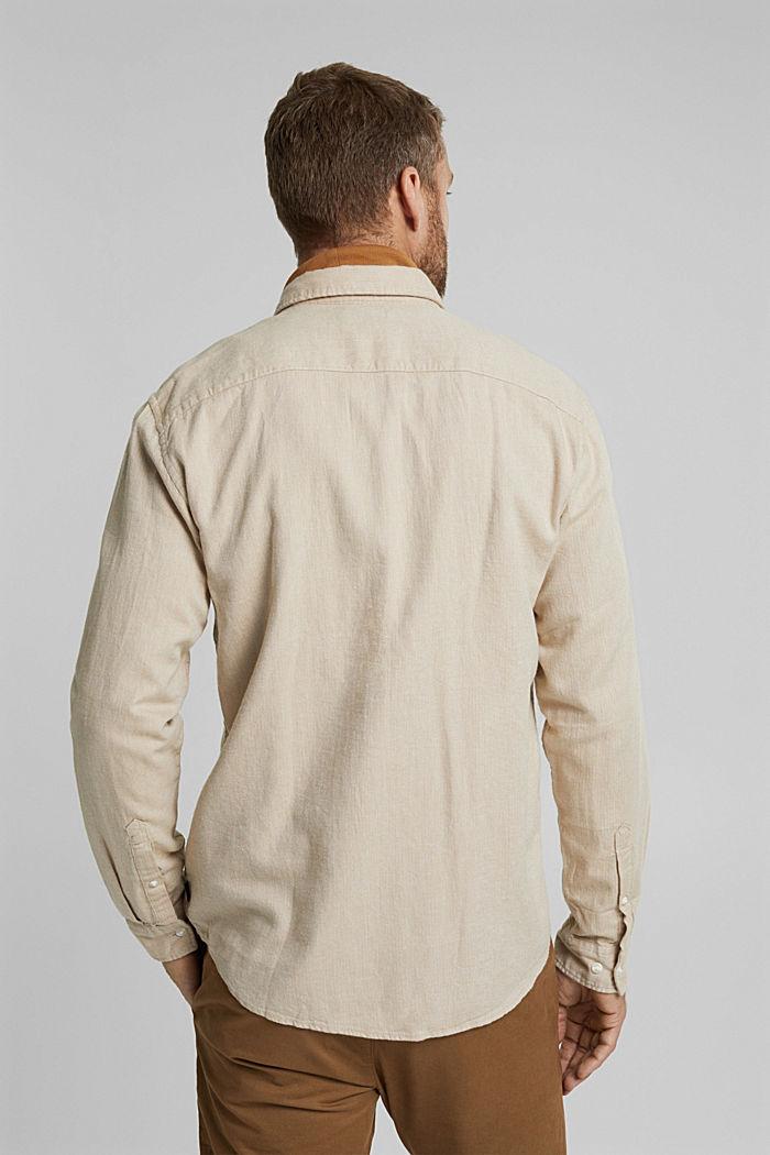 Brushed herringbone pattern shirt, 100% organic cotton, BEIGE, detail image number 3