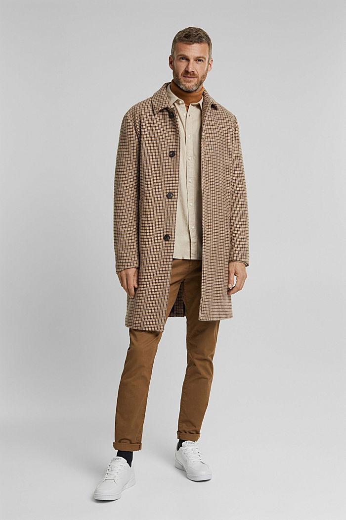 Brushed herringbone pattern shirt, 100% organic cotton, BEIGE, detail image number 1
