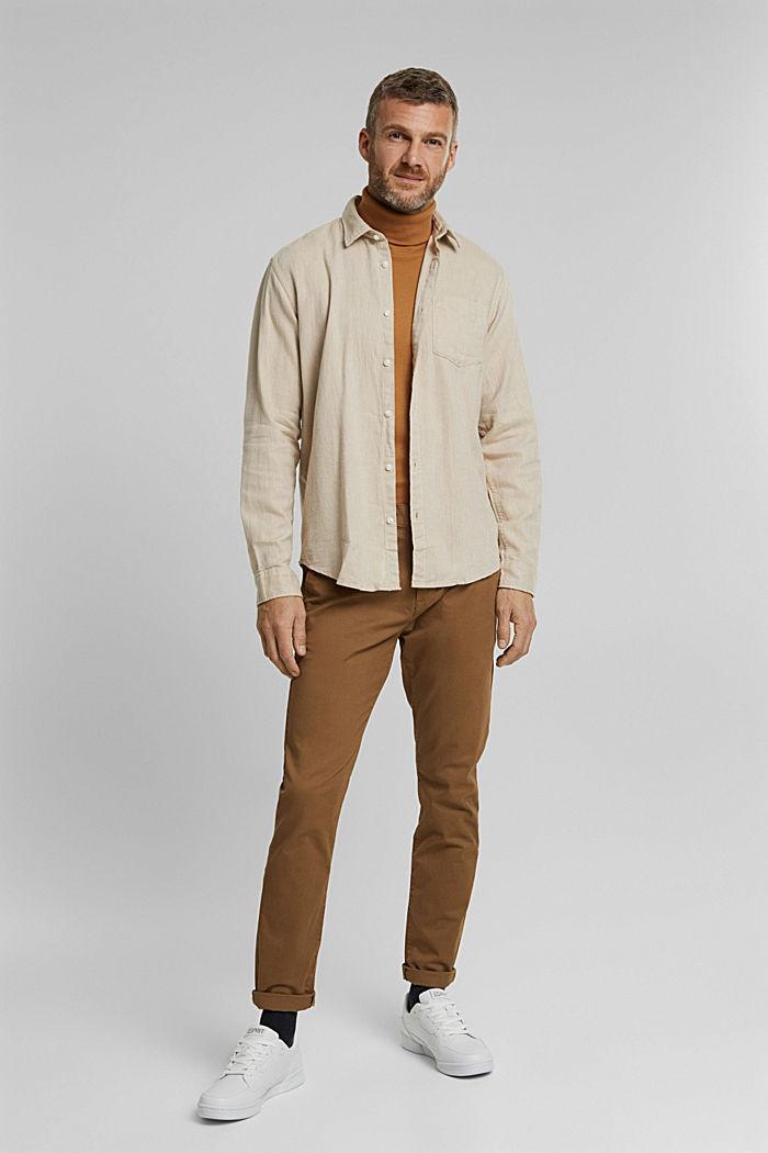 Brushed herringbone pattern shirt, 100% organic cotton, BEIGE, detail image number 5