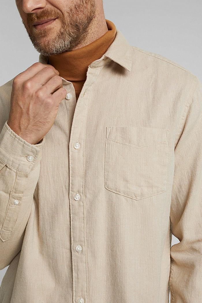 Brushed herringbone pattern shirt, 100% organic cotton, BEIGE, detail image number 2