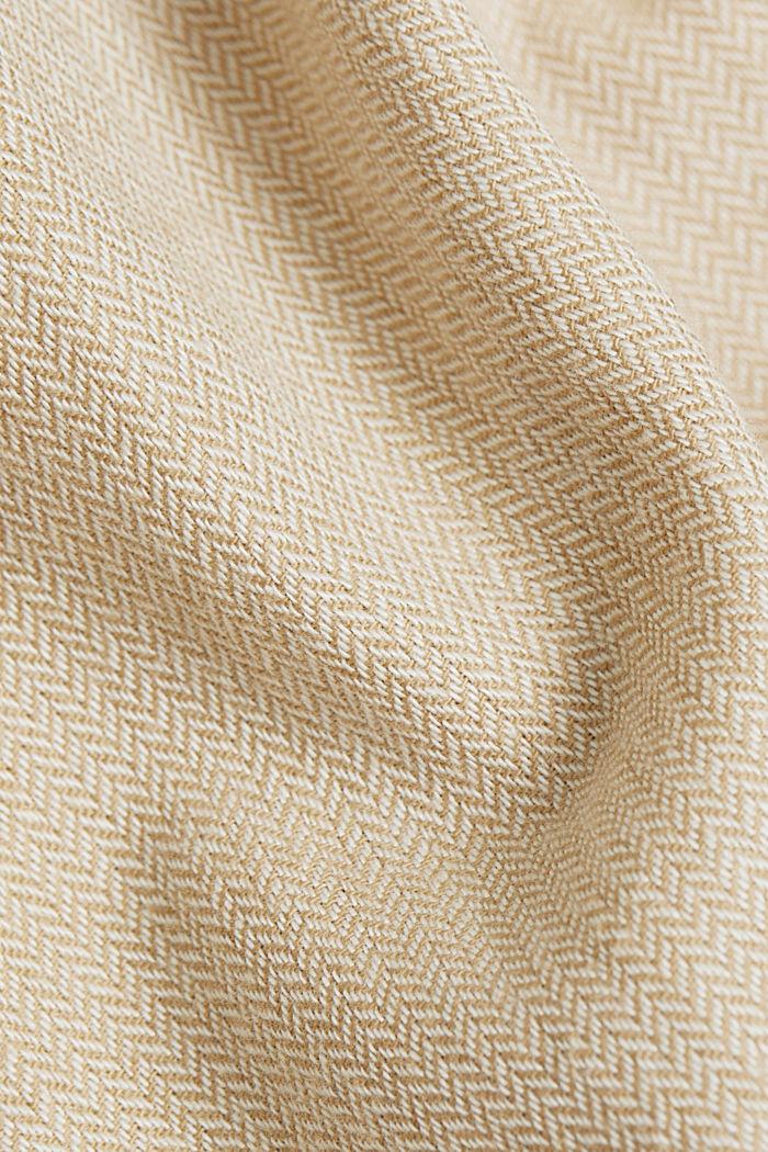 Brushed herringbone pattern shirt, 100% organic cotton, BEIGE, detail image number 4