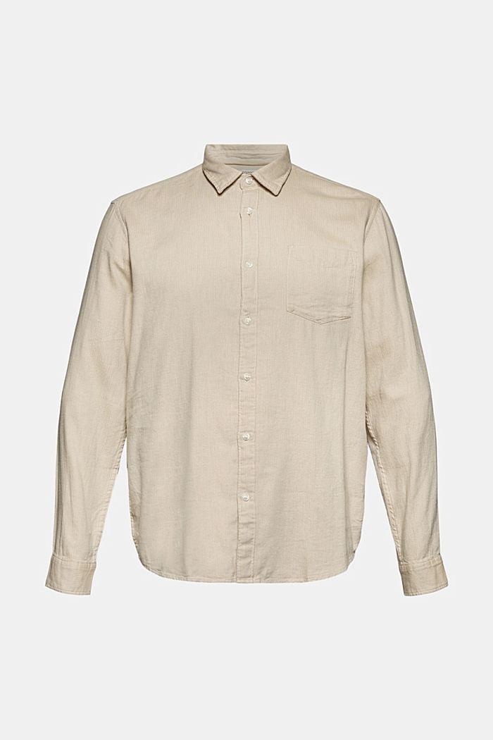 Brushed herringbone pattern shirt, 100% organic cotton, BEIGE, detail image number 6