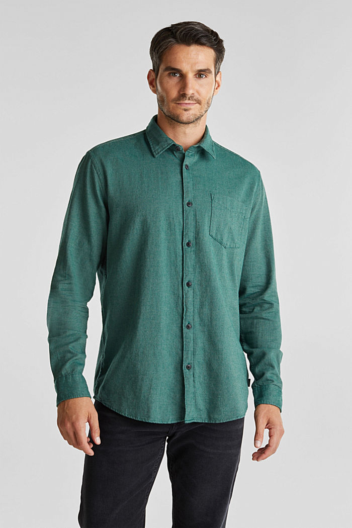 Brushed herringbone pattern shirt, 100% organic cotton, BOTTLE GREEN, detail image number 0