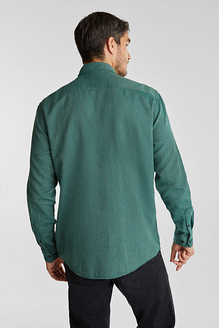 Brushed herringbone pattern shirt, 100% organic cotton, BOTTLE GREEN, detail image number 3