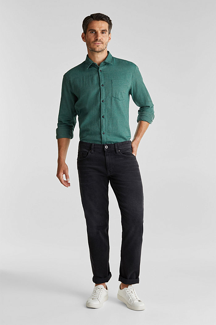 Brushed herringbone pattern shirt, 100% organic cotton, BOTTLE GREEN, detail image number 1